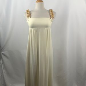 Ivory Maxi Dress with Chunky Lucite Chain